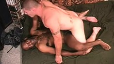Hung black dude and sexy Latino stud deeply pound each other's asses