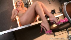 Bodacious blonde cougar with sexy long legs explores her foot fantasy