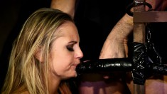 Sultry blonde slut gets her hands tied up and her peach drilled deep