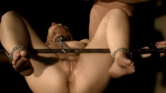 Tied up slave gets tortured and roughly fucked over by her master