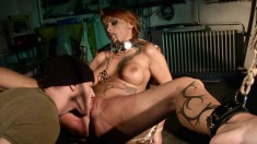 Insatiable Leonie spreads her legs and gets tied up by a hot hunk