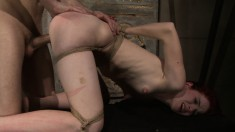 He captures his newest slave and ties her up to torture her sexually