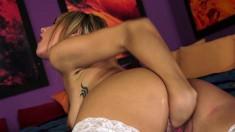Sexy slim blonde teeny in white stockings Leyla Black fists her peach