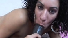 Ebony stunner with perky boobs knows her way around a big black stick