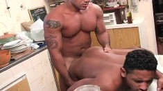 Muscled Brazilian stud gets his hungry ass drilled rough from behind