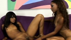 Horny ebony lesbians met at a store and go home to lick and toy cunts