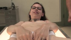 Nerdy Brunette With A Spicy Ass Kristine Is Addicted To Semen And Piss