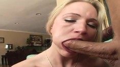 Blonde cocksucker Aaliyah Jolie exchanges oral favors with Rick Masters