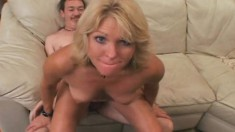 Kinky blonde wife with big tits Jackie stuffs her holes with hard meat