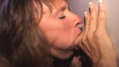 Cheating wife Shelly fulfills her need for hard meat at the gloryhole