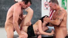 Two Hunky Dudes Get To Shove Their Dicks Up This Hottie's Sweet Slit