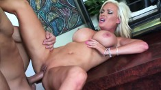 Striking cougar with amazing big hooters has a hunger for young meat