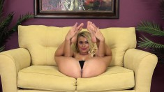 Buxom blonde wants nothing more than a long rod filling her wet peach