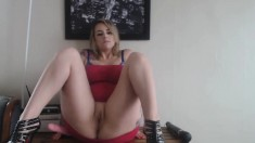 Freaky blonde amateur loves her toys
