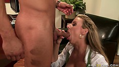 A blowjob from a hot blondie will make this dude's day so much better