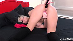Cute blonde Ashley Fires brings pleasure to her holes with her fingers and a sex toy
