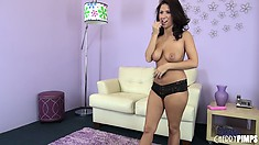 Evi Foxx prances around in her underwear before going topless