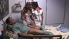 The horny nurses pay their patient a visit to check on the health of his big shaft