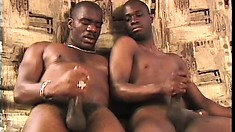 Hung Black Guys Ejaculate Next To Each Other After Pounding Ass