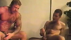 Smoking hot studs screw each other's brains out in a steamy gay threesome