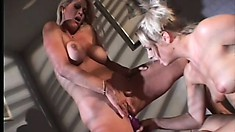 Sexy blonde MILFs, on the zebra blanket, lick and toy pussy for pleasure