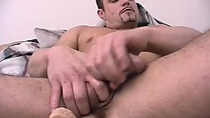 Three hot guys get a taste of each other's asses and have fun with a dildo