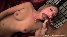 Blonde beauty Nina Power pleases her clit with a sex toy while a dick bangs her cunt