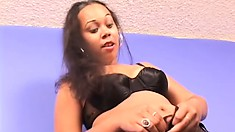 Ebony coed Destiny Love picked up off the street to pose and make him cum