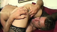 Asian MILF Lucky Starr wears nothing but stockings while getting creamed
