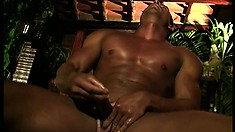 Muscular Latino goes solo and gives his hard meat a good jerking off