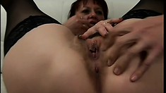 Lustful mature lady has four young studs covering her face with jizz