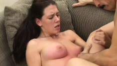 Luscious student girl Alicia is slurping big dick and bouncing on it afterwards