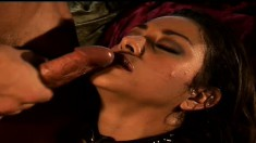 Feisty latina chick moans and groans as she rides a meaty pole