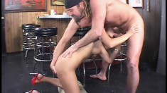 Horny biker dude bangs a hot brunette babe after hours, at the bar
