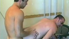 Horny cops suck each other's big dicks and enjoy anal sex behind bars