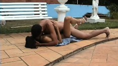 Petite young Latina with small tits has a black guy banging her twat by the pool