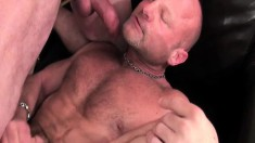 Two hung studs take turns pounding the horny guy's fiery anal hole