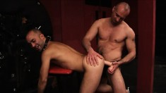 Kinky gay partners Igor and Luca Falcini having fun with huge dildos