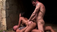 Sultry Asian chick has two guys filling her holes with their big cocks