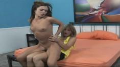 Hot Alyssa Reece seduces a striking young babe for a lesbian adventure