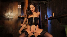 Submissive brunette in lingerie works her snatch on a strap-on dildo