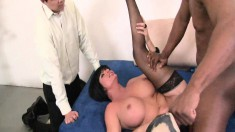 Busty Shay Fox feeds her lust for dark meat while her husband watches