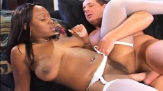 Ebony nurse Skyy Black loves to eat white dick and drill her cunt