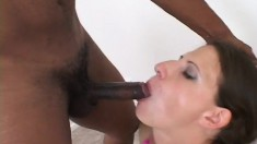 Sexy slender brunette housewife tongues a hung black stud's anal hole