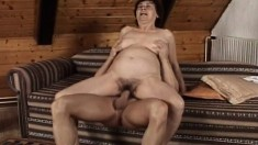 Luscious mature woman Valda has a young stud plowing her hairy peach