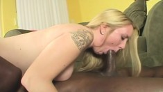 Sweet young blonde with big boobs surrenders her pussy to a black stud