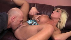 Stacked blonde beauty has an older guy devouring and banging her cunt