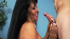 Bodacious Latina milf makes Charles' big dick explode with her hands