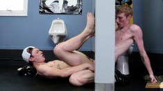 Two beautiful young boys fulfill their sexual urges at the gloryhole