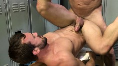 Two bearded musclemen strip in the locker room to suck cock and get ass-fucked